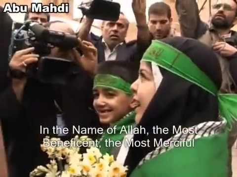 [Clip] Children receive sayyed Ali khamenei with flowers - Farsi Sub English