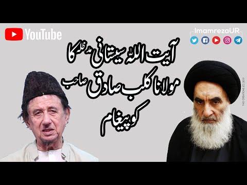MOULANA KALB-E-SADIQ KO AYATULLAH SISTANI KA PAIGHAM | KALB E SADIQ | IMAM REZA | Urdu