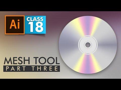 Adobe Illustrator - Mesh Tool Part 3 - Radial Mesh - Class 18 - Urdu / Hindi