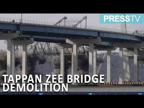 [16 January 2019] Watch the moment NY\'s Tappan Zee bridge demolished with explosives - English
