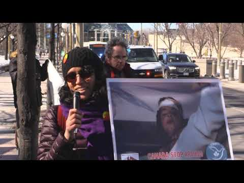 Ottawa Mark 4th year of Illegal war on Yemen infront of United States Embassy in Ottawa - English