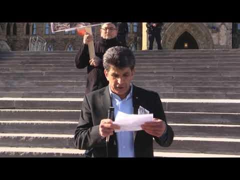 Ottawa Mark 4th year of Illegal Saudi war on Yemen Br  Helmi Charif speech infront of Paliament Hill Ottawa Canada - Eng
