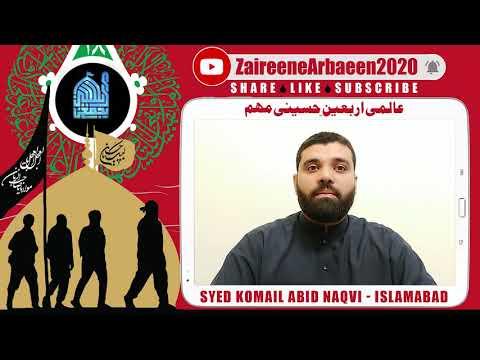 Clip | Syed Komail Abid Naqvi | Ajjki Yazidiat Ka Muqabla Arbaeen Se | Aalami Zaireene Arbaeen 2020 - Urdu