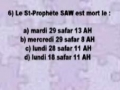 QCM sur le deces et les obseques du Saint-Prophete - francais